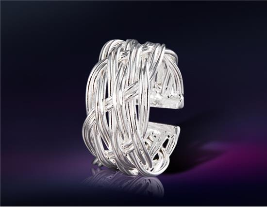 925 Стерлинговый серебристый белый медный стильный вырез Регулируемое кольцо M - серебристый