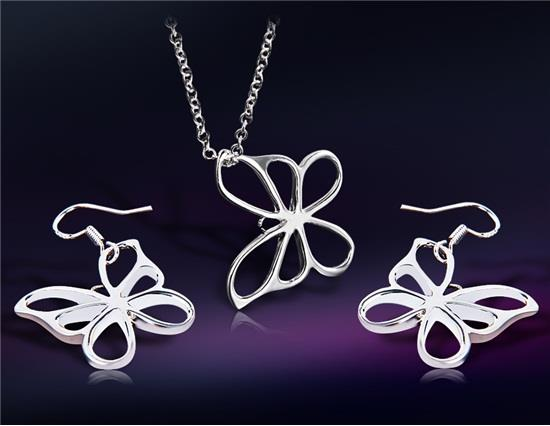 الجنيه الاسترليني الفضة مطلي الفراشة تصميم الأبيض سبائك النحاس قلادة وأقراط مجموعة M - فضية