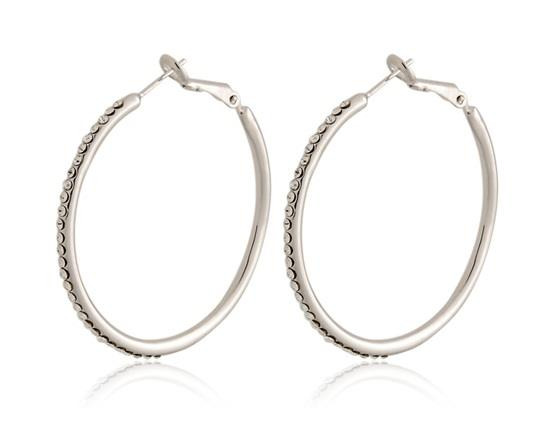 Rigant 18K RGP Crystal Circle Earrings - белый