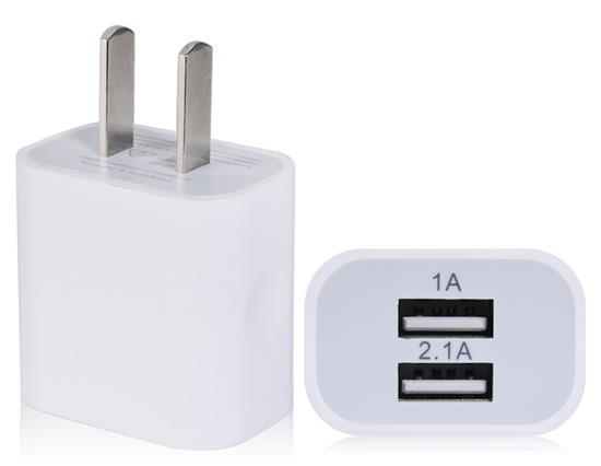 الولايات المتحدة التوصيل 0.3A 2.1A شاحن USB ميناء مزدوج - أبيض