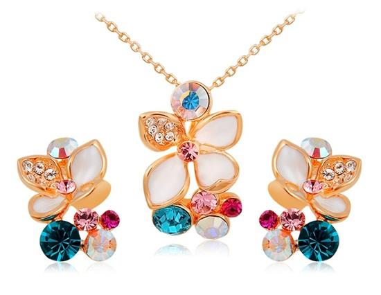 Rigant 18K RGP Alloy Flower Cut-out Necklace Earring Set - Gold
