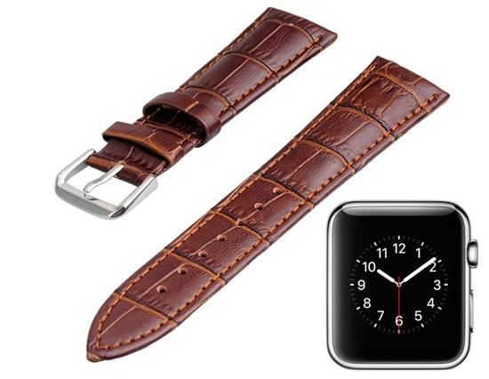 Genuine Leather Band 22x18mm with Screwdriver for Apple Watch 38mm -Coffee фото