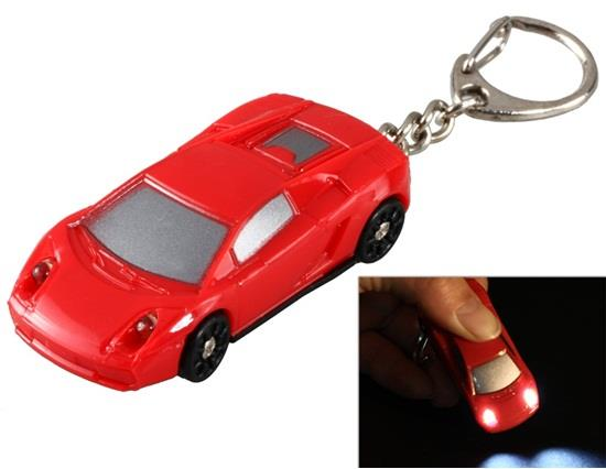 Mini Car LED Light Keychain with Sound Effect - Red фото