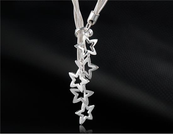 Yıldız Kolye ile Gümüş Kaplama Bakır-Nikel Alaşım Kolye - Gümüş