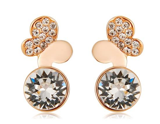 Neoglory Crystal Earrings With Butterfly Design Rhinestone Decorated - Golden