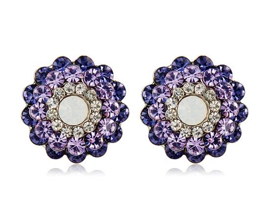 Neoglory Gorgeous Crystal Earrings With Rhinestone Decorated - Purple