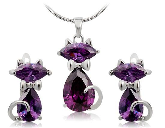 Neoglory Purple Crystal Leopard Cat Pendant Earring Necklace Set - Purple