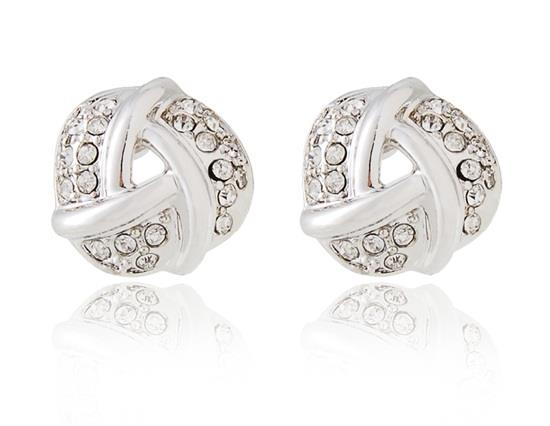 Rigant Spiral Earrings with Mini Diamonds Decoration - White