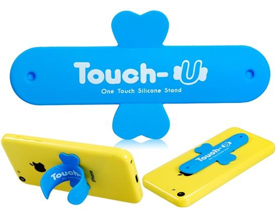 Touch-U mágikus matrica kereszt alakú szilikon telefon állvány tartó - kék