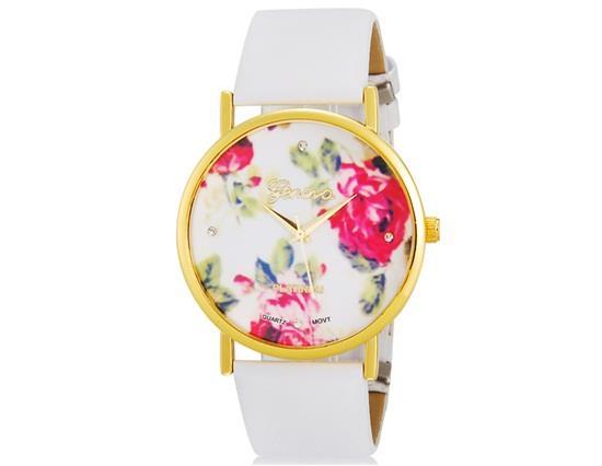 YW2033W WoMaGe 1089 Модные женские платиновые аналоговые кварцевые наручные часы с цветочным узором и полосой PU (белый) M.