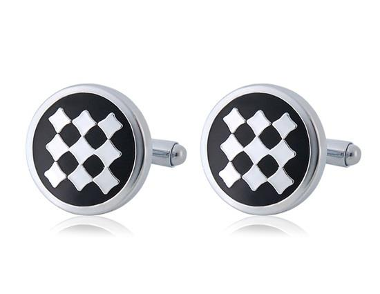 Men Squares Design French Style Cufflink - Black
