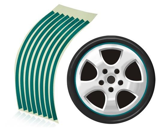 Striped Reflective Sticker for Car Wheels - Green фото