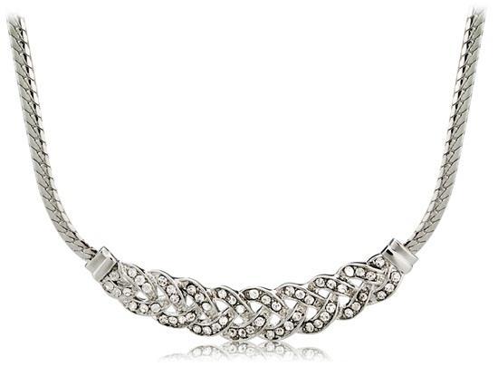 Superbe strass / Twist décoré collier pendentif - Argent