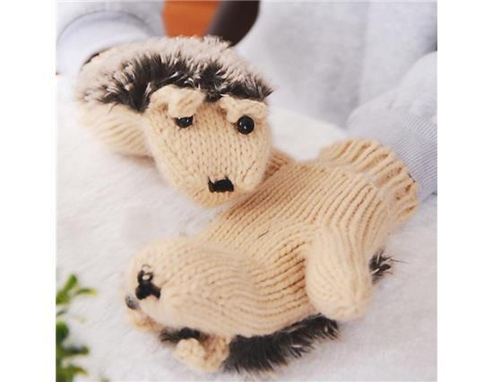 Dames Winterhandschoenen Breiwol Warme wanten Vingerloze Cartoon Hedgehog-handschoenen (roze)