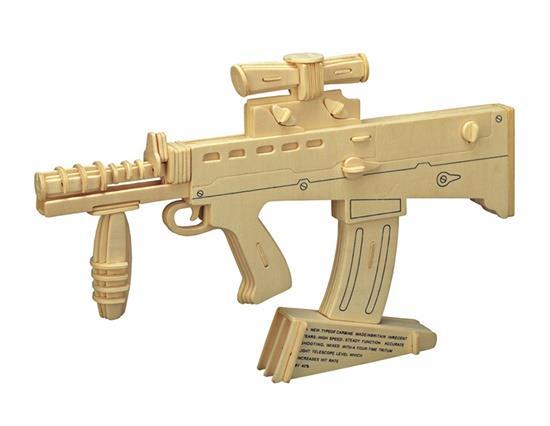 Nagy Carbine 3D Fából készült rejtvények Gyermekoktatási játékok Katonai modell gyerekeknek és felnőtteknek