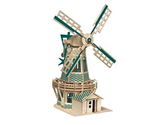 Holland Windmill 3D Ξύλινα παζλ παιδικά εκπαιδευτικά παιχνίδια μοντέλο αρχιτεκτονικής για παιδιά και ενήλικες (πράσινο)