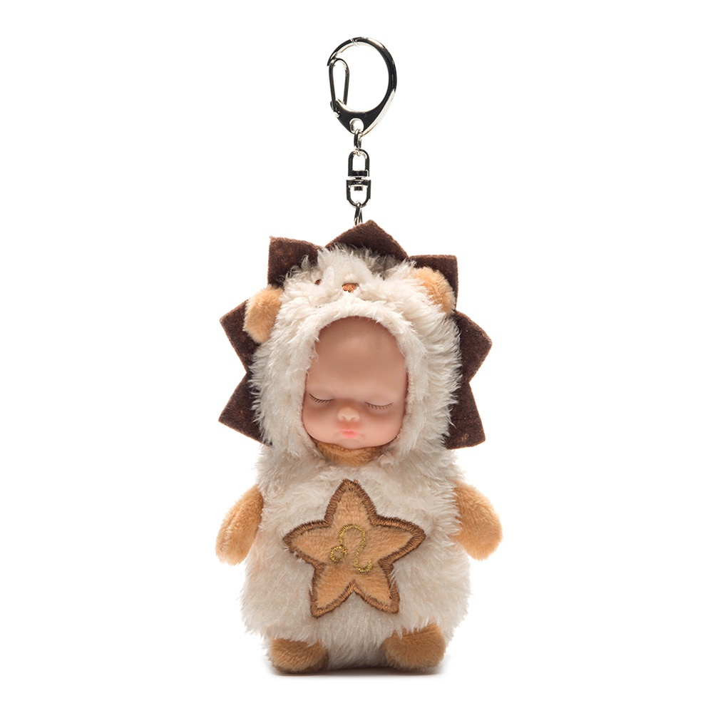 10CM 12 constellations Kawaii Keychain Sleeping Baby Doll Key Chain Rings For Women Bag Accessories Car Keyring-Leo фото