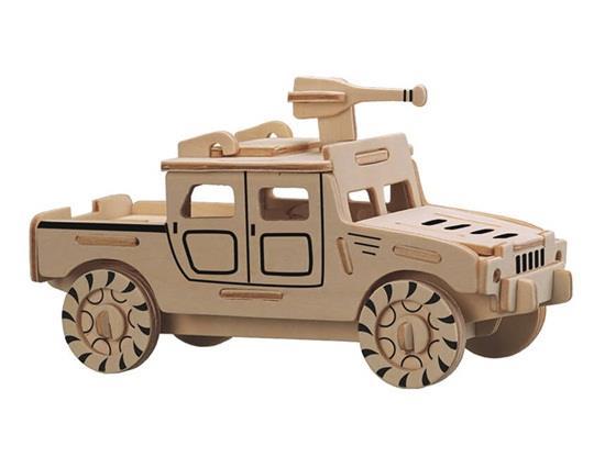 Mini Humvee Jeep autós modell 3D DIY Fából készült rejtvények Biztonságos és környezetbarát szimulációs intelligencia játékok gyerekeknek