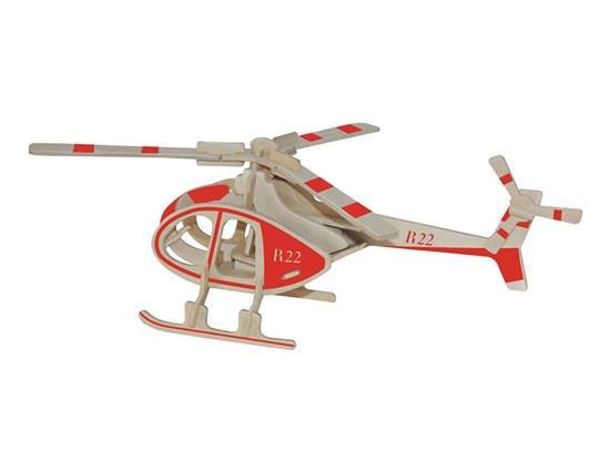 مصغرة رسمت نموذج طائرة هليكوبتر روبنسون xnumxd ديي خشبية الألغاز آمنة ودية البيئية simulatio
