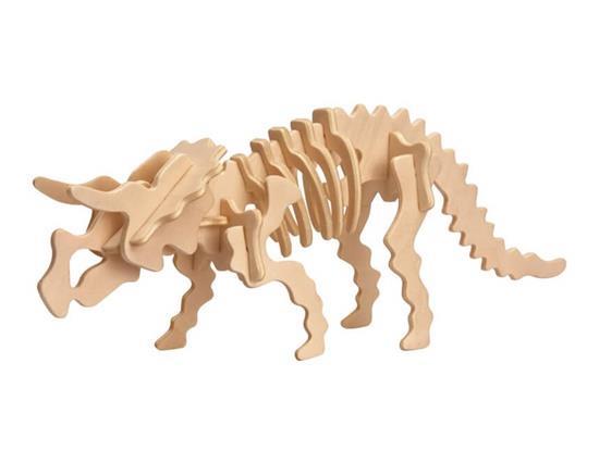 D-11-1 DIY 3D Fából készült dinoszaurusz állat puzzle Mini Triceratops Modell biztonságos barát-környezet szimulációs intelligencia T