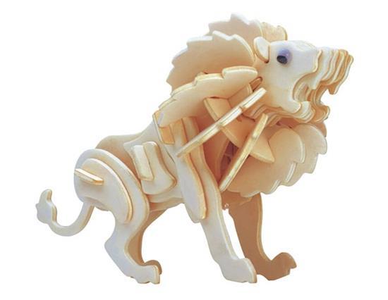 G-M028A Mini Lion Μοντέλο 3D DIY Ξύλινα Ζωικά Παζλ Ασφαλή Φιλική-Περιβαλλοντική Προσομοίωση Παιχνίδια Νοημοσύνης Για Παιδιά