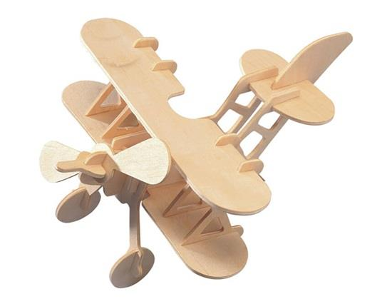 G-P002 3D DIY Wooden Puzzles Mini Biplane Model Safe Friendly-environmental Simulation Intelligence Toys For Kids Childr фото