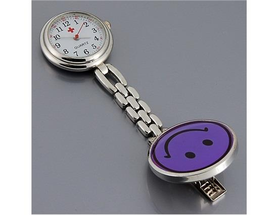 Schattig smiley gezicht stijl verpleegster quartz horloge met clip - paars