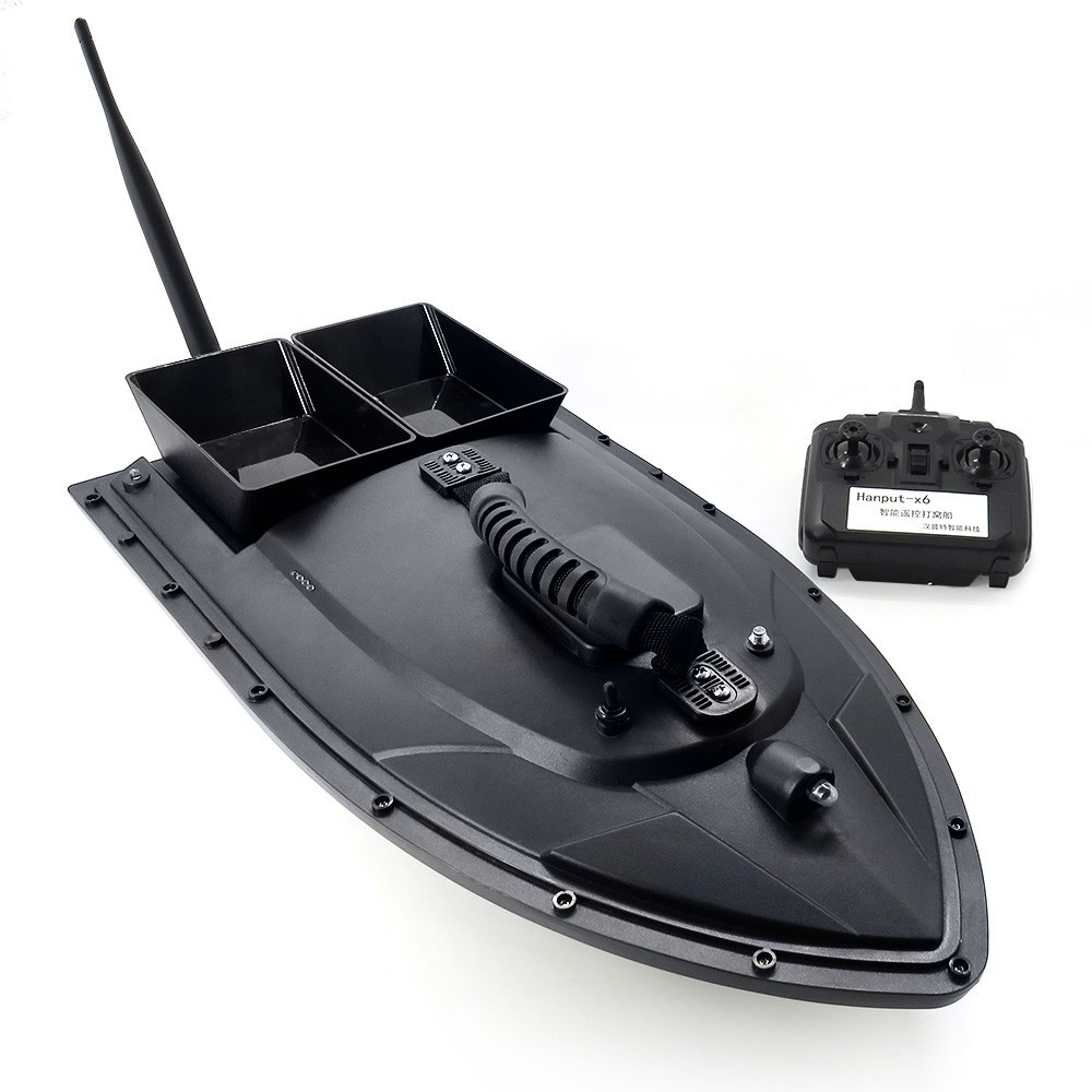 Flytec 2011-5 Intelligent visaas RC boot met dubbele motoren 500M RC afstand 1.5KG laden LED licht - zwart