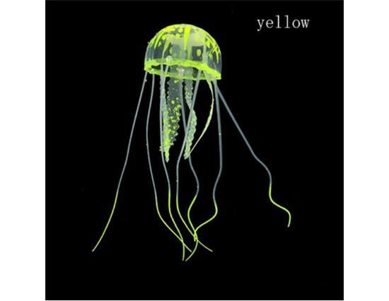 Akvárium Tájkép dekoráció Noctilucent szimulációs medúza akvárium dekoráció -Sárga