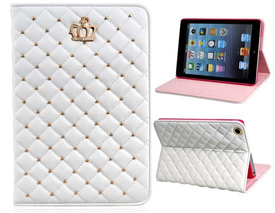 Crystal Decorated Crown Pattern Faux Leather Flip Case for iPad Mini 1/2/3 -White Other