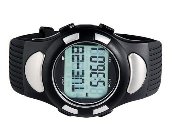 Круглый циферблат с цифровым дисплеем Резиновые часы TPU с монитором сердечного ритма шагомера - черный