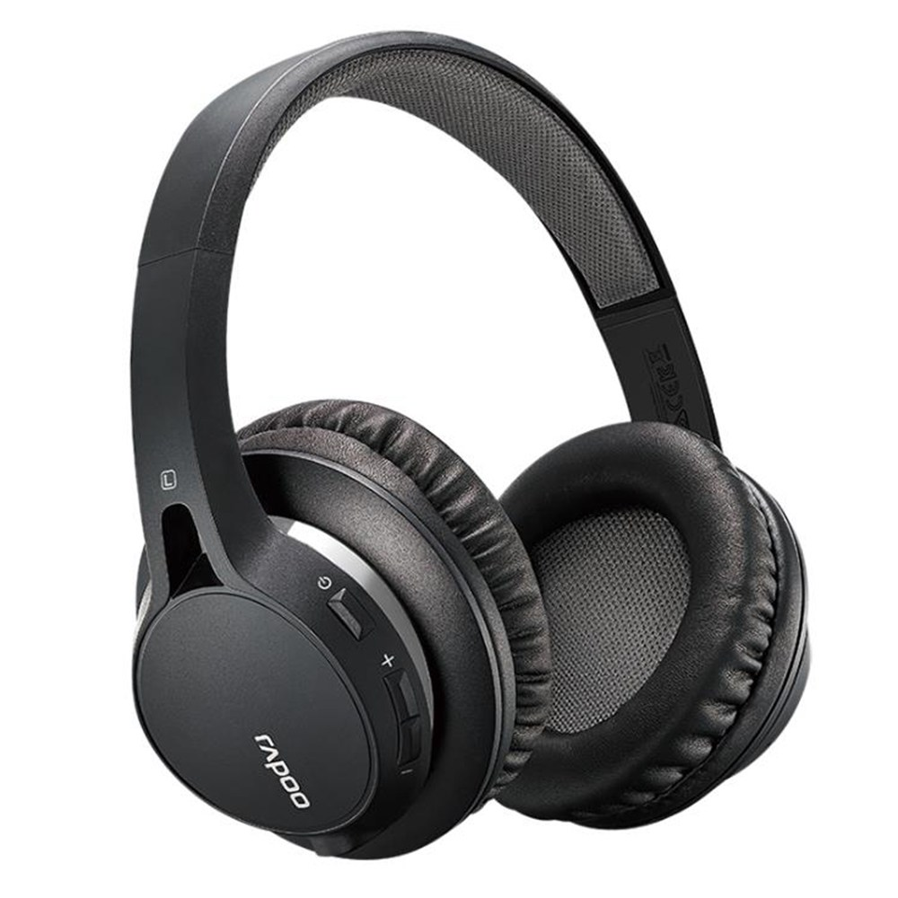 Rapoo S200 ชุดหูฟังบลูทู ธ สเตอริโอ Dual Mode และการเชื่อมต่อแบบมีสาย 3.5mm - สีดำ
