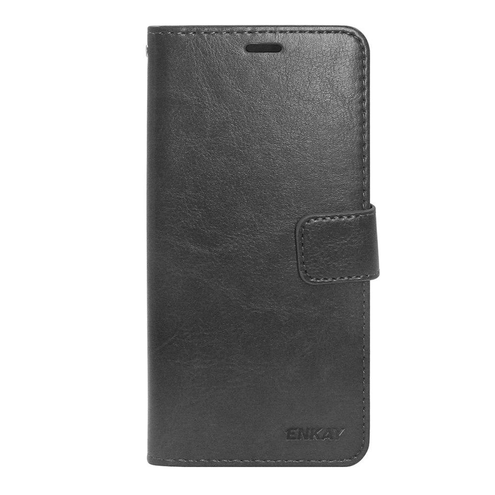 ENKAY بو كريزي هورس حقيبة جلد لهواوي P20 برو مع وظيفة حامل فتحة بطاقة - أسود
