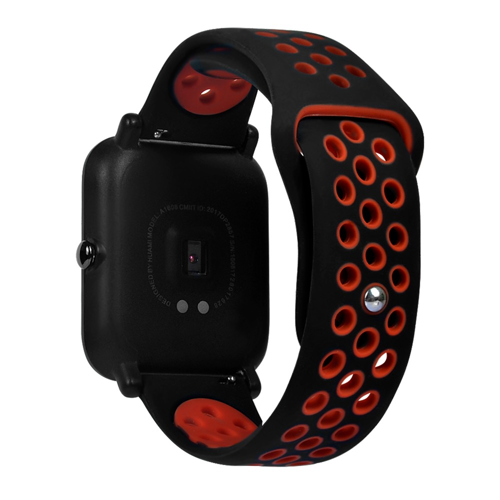 Replacement Strap Silicon Watch Bracelet Band For Xiaomi HUAMI AMAZFIT Bip - Black+Red