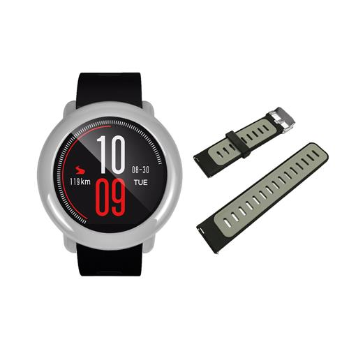 Replacement Strap Silicon Watch Bracelet Band With Hard Case For Xiaomi Huami Amazfit Pace - Black+Gray фото