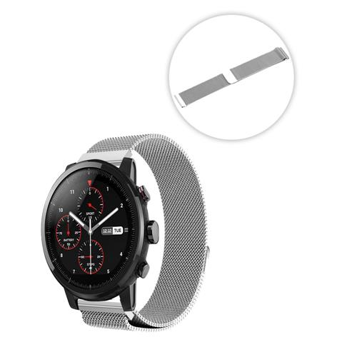 Universal 22mm Replacement Metal Milan Magnetic Suction Watch Bracelet Strap Band For Huami Amazfit Stratos 2/2S Pace - Silver