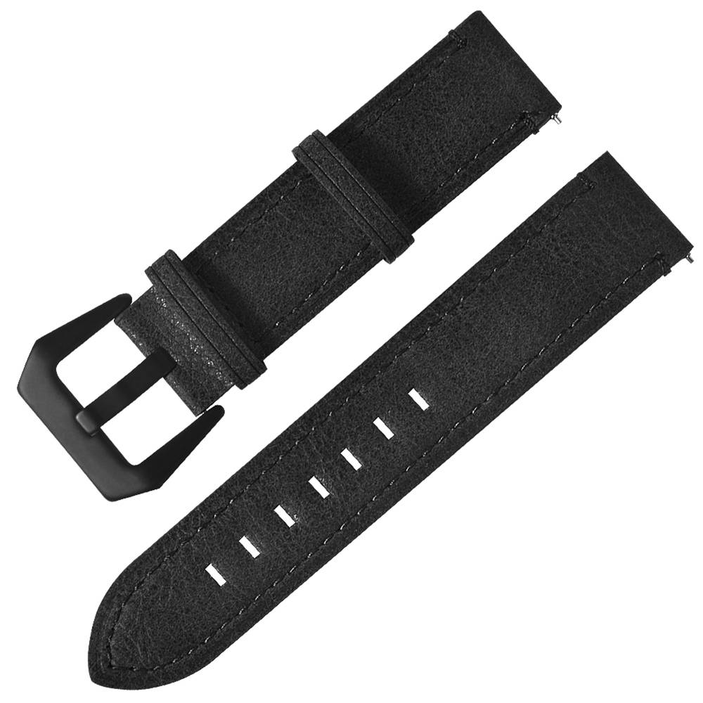 Replacement Strap Genuine Leather Watch Bracelet Band 20mm For Xiaomi Huami Amazfit Bip - Black фото