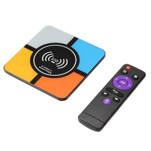 R-TV BOX S10 Plus Android 8.1 4GB/32GB KODI 18.0 4K TV Box Wireless Charger RK3328 WiFi LAN HDR H.265 Compatible with iPhone X iPhone 8/8 Plus & Galaxy Note 8 S8/S9/S9 Plus and All Qi-Enabled Devices