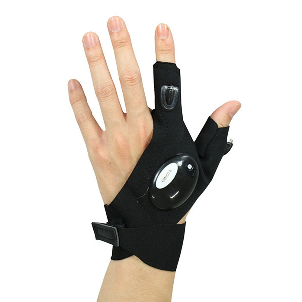 LED Half-finger Glove Outdoor Lighting Portable Convenient for Night Running Riding Hunting Camping - Black Left Hand