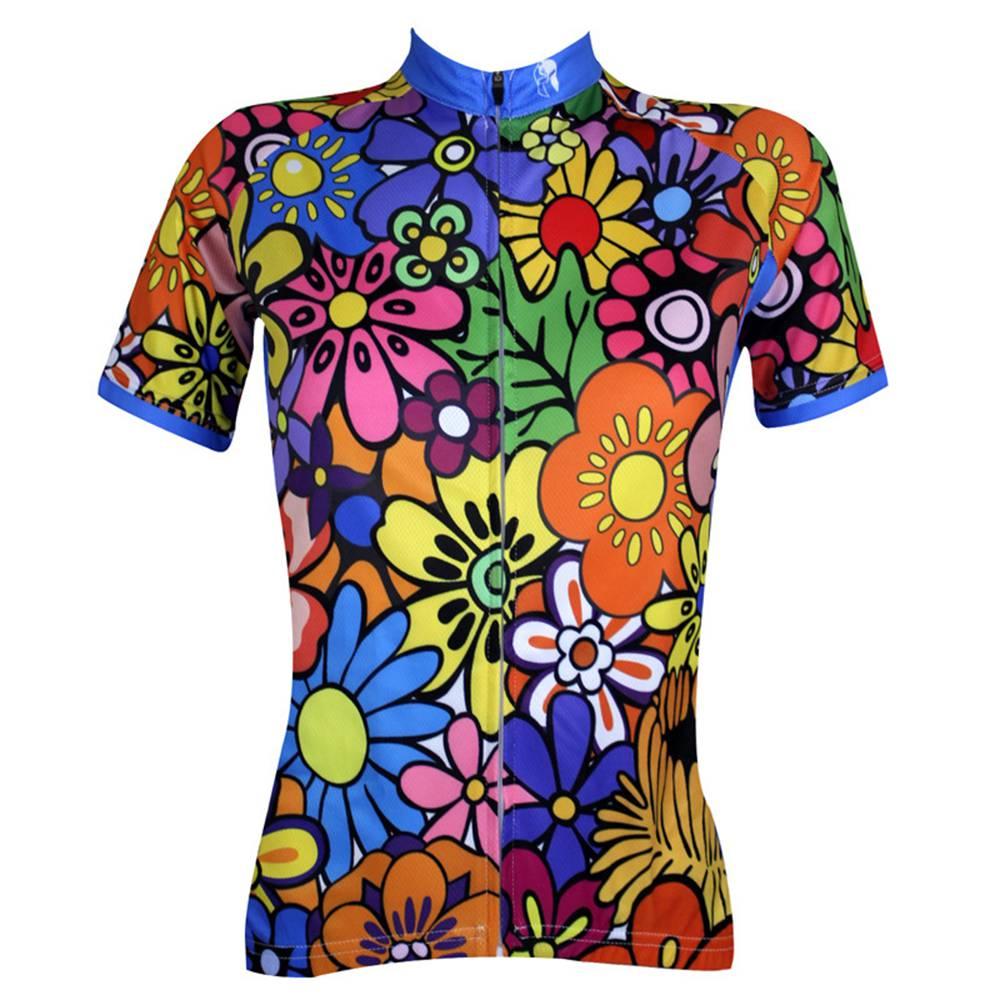 Maglia da ciclismo manica corta donna Ilpaladino Quick Dry Resistente agli ultravioletti traspirante Taglia L - Rainbow Floral