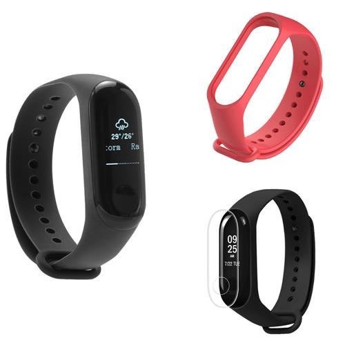 [Package B] Original Xiaomi Mi Band 3 Smart Bracelet (Black) + Replacement Strap (Red) + Protective Screen Film (Transparent)