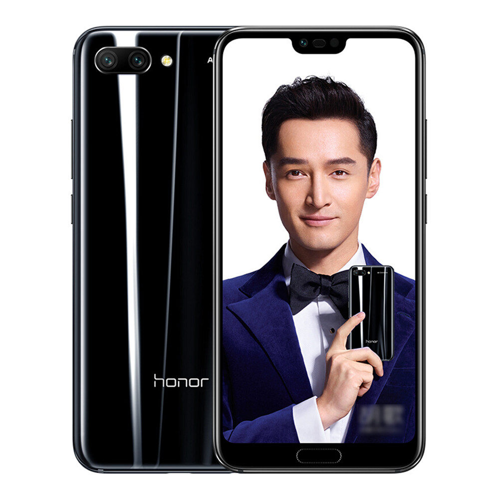 HUAWEI Honor 10 5.84 Inch Smartphone Kirin 970 6GB 64GB 16.0MP+24.0MP Dual Rear Cameras Android 8.1 FHD+ Screen OTG Touch ID Type-C - Black