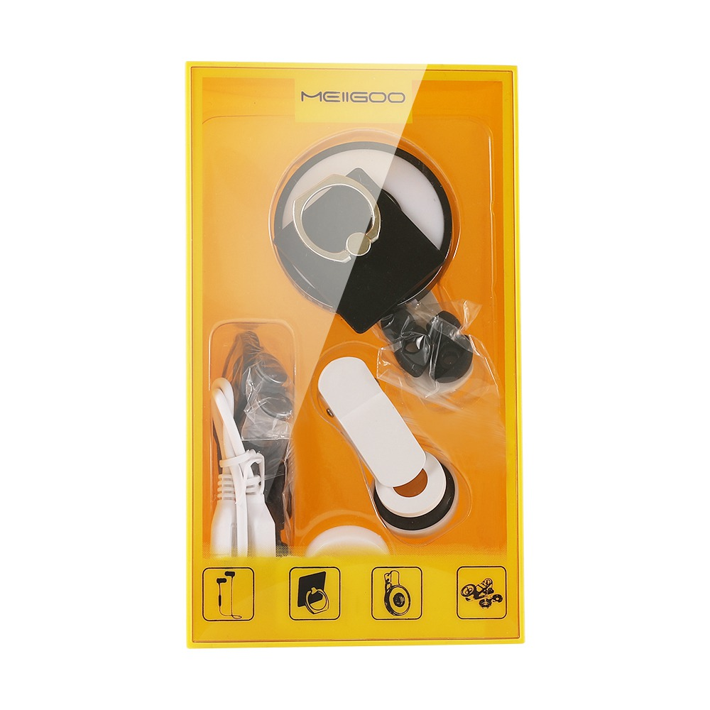 4-in-1 Kit For Smartphones Wide-angle Lens Fill Light Bluetooth Headset Ring Buckle - White + Black