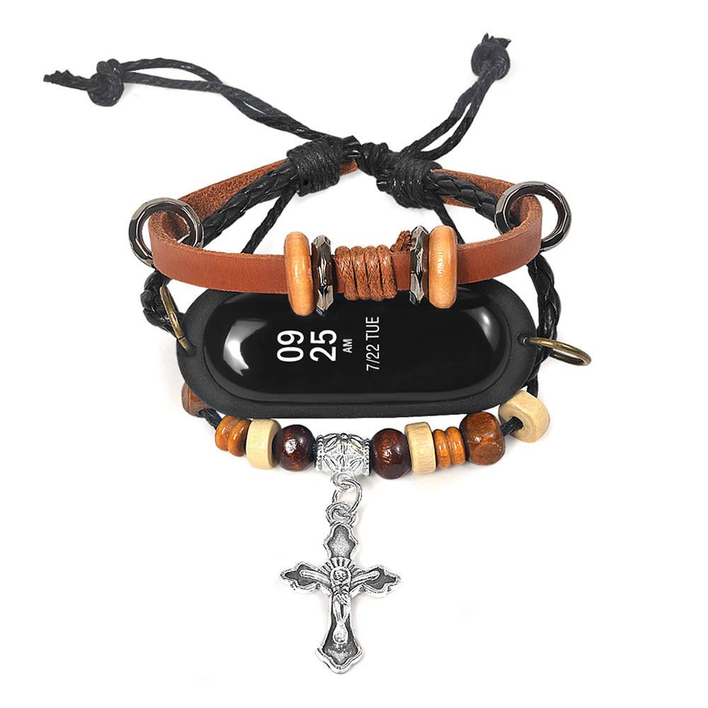 Skinnbyxor med kors för Xiaomi Mi Band 3 Smart Armband - Brun
