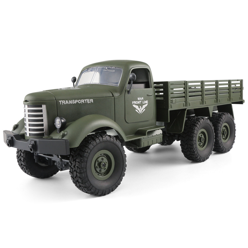 JJRC Q60 Transporter RC Car 2.4G 1:16 6WD Brushed Off-road Military Truck RTR - Army Green