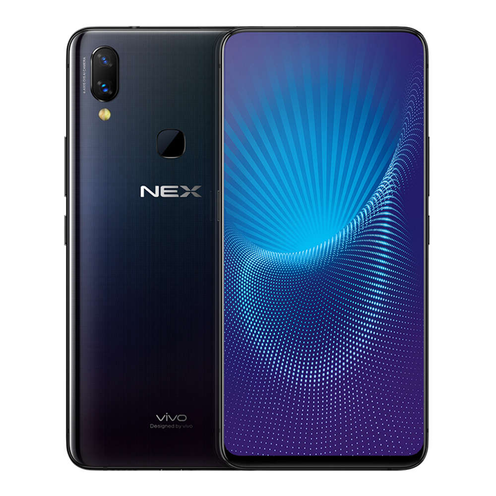 Vivo Nex 6.59 Inch 4G LTE Smartphone In-Display Fingerprint Ultra FullView Screen Snapdragon 710 6GB 128GB 12.0MP+5.0MP Dual Rear Cameras Android 8.1 Type-C Touch ID Fast Charge - Black