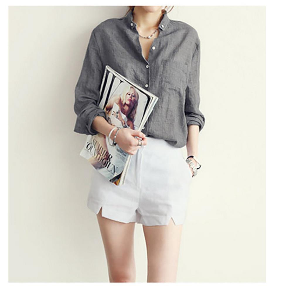 Camicia allentata casual a maniche lunghe in cotone con maniche lunghe a maniche lunghe, taglia M - grigio