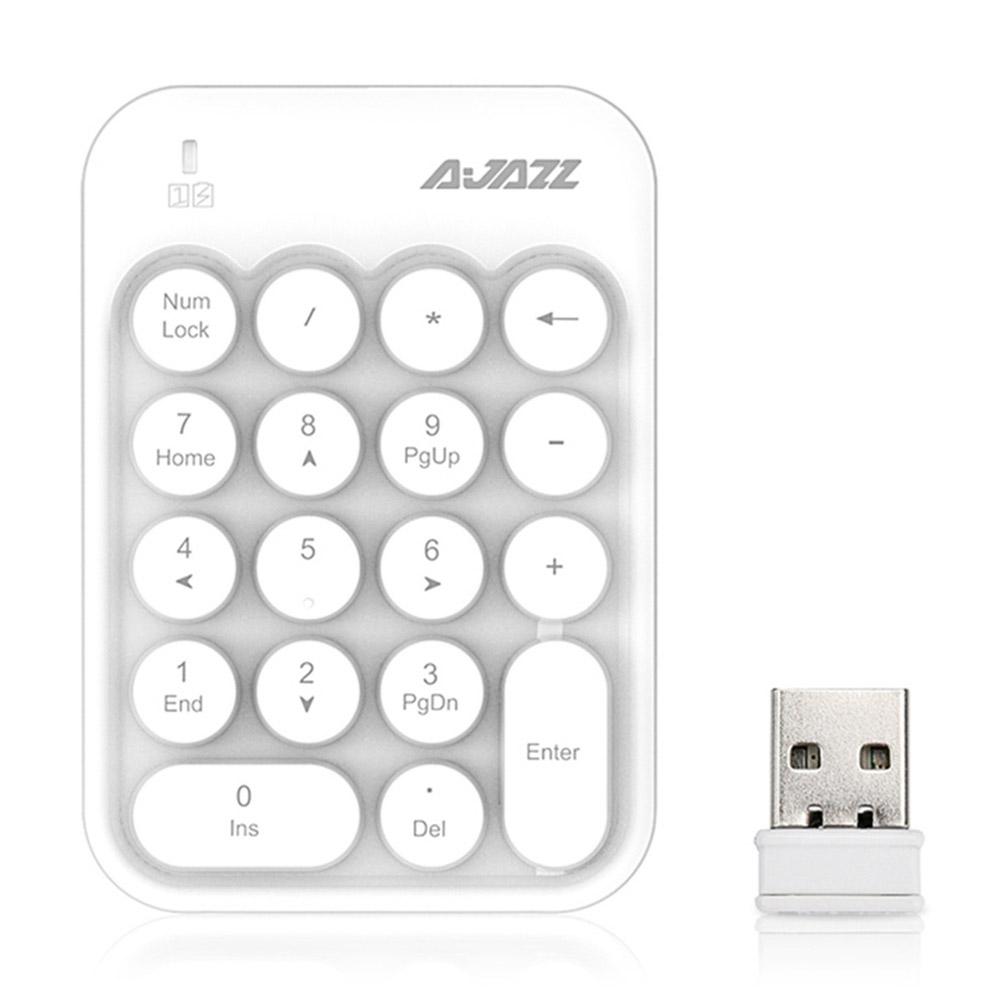 Ajazz AK18 2.4G Wireless Numeric Keypad 18-Key Retro Typewriter Round Keycap - White фото