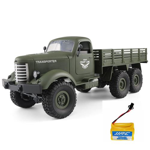 JJRC Q60 Transporter RC Car 2.4G 1:16 6WD Brushed Off-road Military Truck RTR Army Green + Extra Battery