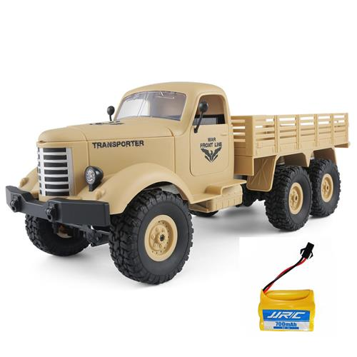 JJRC Q60 Transporter RC Car 2.4G 1:16 6WD Brushed Off-road Military Truck RTR Khaki + Extra Battery
